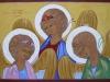 Icona dei volti della Santa Trinità, 2011 - tecnica tradizionale dell'icona (legno, bisso di lino, oro zecchino, tempera all'uovo con pigmenti antichi) - cm 50x70