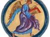 Angelo simbolo dell'Evangelista Matteo, 2014 - tempera all'uovo su tavola - diam. cm. 27