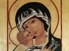 Carolina Franza - Madre di Dio della tenerezza, 2016 - tecnica mista su legno (lino, alabastro, oro zecchino, tempera a uovo) - cm 32x 24
