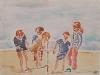 François Piers, 2014 - Bambini sulla spiaggia - acquerello su carta - cm 30 x40