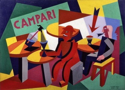 Depero,Squisito al selz campari, 1926, collage di carte colorate su cartone, cm 71x96,5