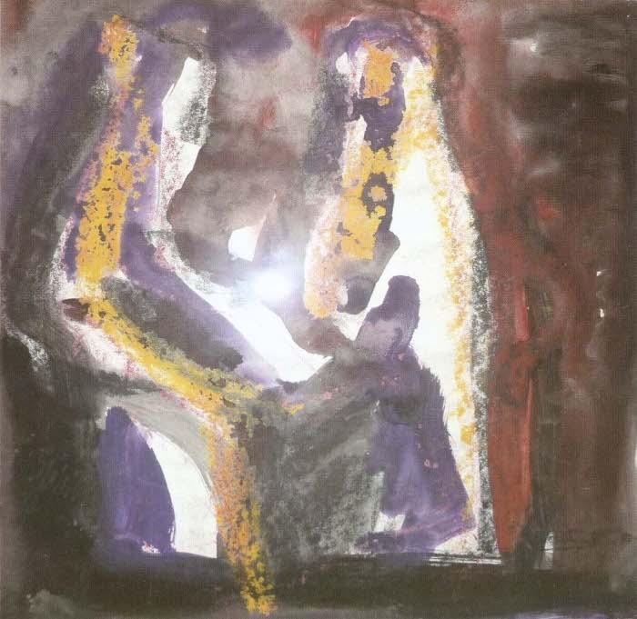 Alice Psacaropulo - Due figure - gouache su carta
