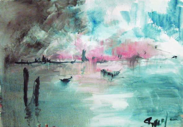 Laguna all'alba , 2010 - olio su tela - cm. 100x70