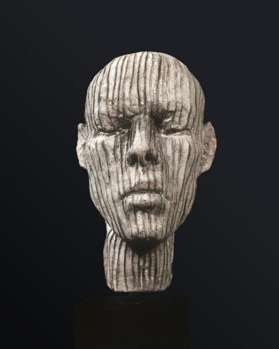 Testa di Hermann, 2008, ceramica raku, 25 x 15 x 18 cm