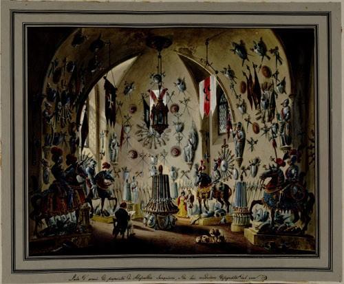 Alessandro Sanquirico - Sala d'arme di Alessandro Sanquirico da lui medesimo disegnata dal vero, 1833 - Disegno, acquarello e tempera -  (C) Torino, Biblioteca Reale