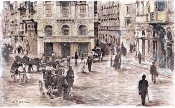 Il Caffe' Bizantino, 2011 - china e tempera - cm 70x50.