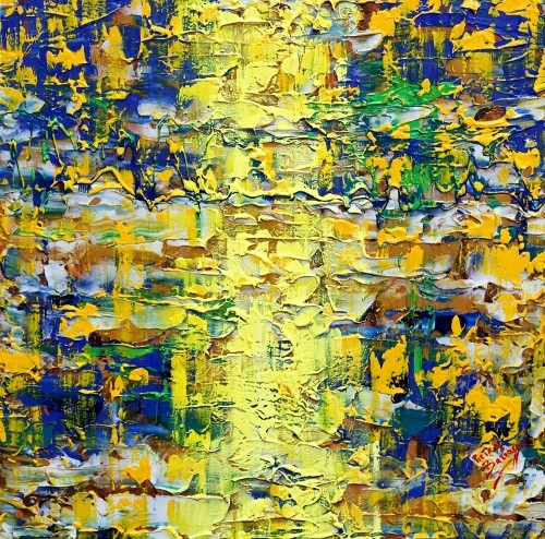 Fasci di luce, 2011, acrilico su tela, cm 100x100