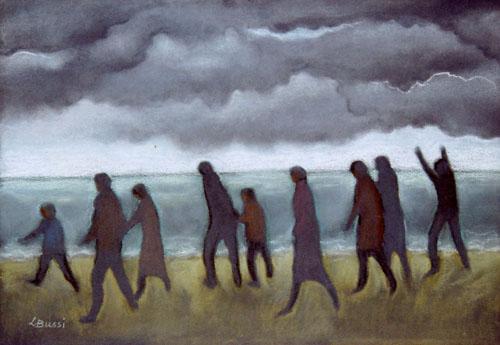 Fuga dalla spiaggia, 2008 - pastelli su carta - cm. 51x33.