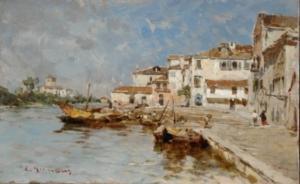 Eugenio Gignous, Paesaggio in laguna, 1880-1885 circa, olio su tavola, cm 17,2 x 27,7