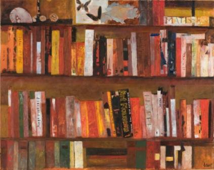 MARIO LATTES - BIBLIOTECA, 1991, olio su tela, 80 × 100 cm