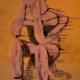 Il pensatore di Hamangia (Romania), 2013 - cm 140x150 - olio su tela