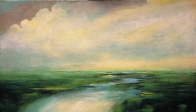 Claudio Mario Feruglio, 2012 - Memento (dove si fermerà la poesia, si aprirà l'eternità) - acrilico su tela - cm 100 x 120