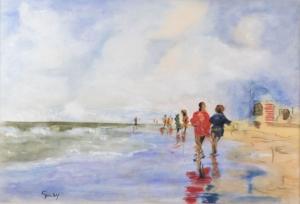 Giusy Depase - Grado, lungomare, 2003 - acquarello su carta - cm 35x50