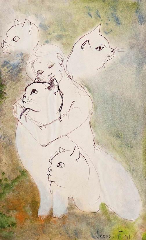 Leonor Fini - Figura femminile con gatti - 1989 - tecnica mista su carta - cm. 43x31- coll. privata, Trieste - © Marianna Accerboni